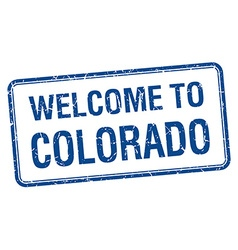 Welcome to colorado blue grunge square stamp vector