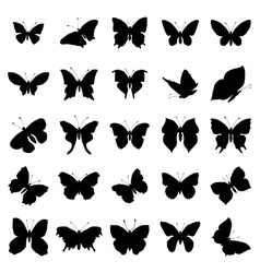 Butterfly silhouette set vector