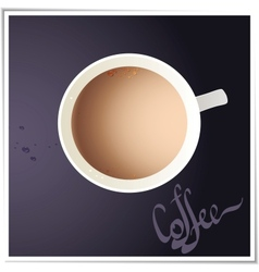 Coffee cup with world map on background top view vector image vector image