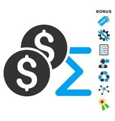 Coin summary flat icon with bonus vector