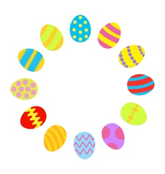 Colored Easter egg set round frame on white vector image