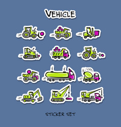 construction equipment sticker set for your vector image