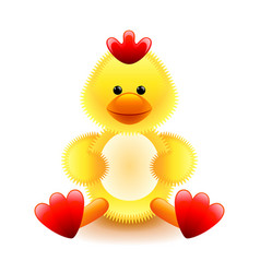 Cute yellow chicken soft toy isolated on white vector