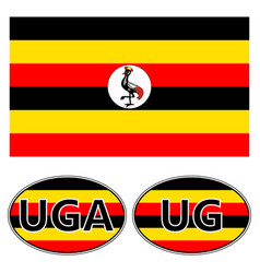 flag and stickers on the car of uganda vector image