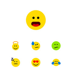 Flat icon emoji set of frown cold sweat tears vector