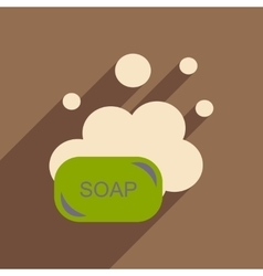Flat with shadow icon and mobile application soap vector