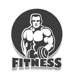 gym emblem with bodybuilder vector image