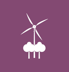 Icon wind turbine between trees vector