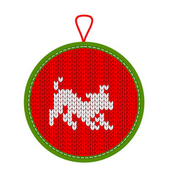 Knitted christmas decoration play dog vector