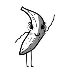 line kawaii cute happy banana fruit vector image vector image