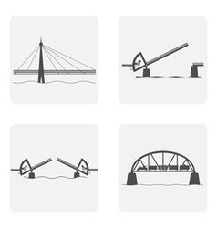 monochrome icon set with bridgework vector image