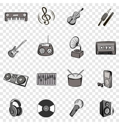 Music set icons vector image vector image