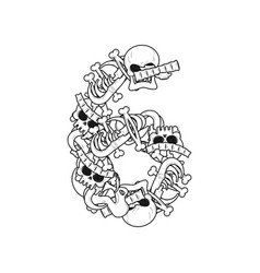 Number 6 skeleton bones font six anatomy of an vector