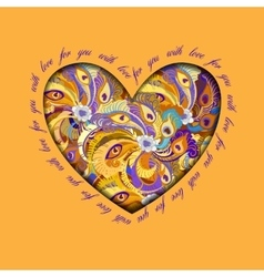 Orange painted peacock feathers heart design Love vector image