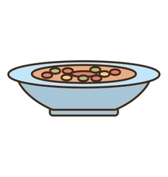 Plate soup dinner cooking vector