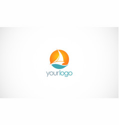 ship sail boat logo vector image vector image