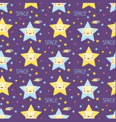 smiling stars in space cartoon seamless pattern vector image vector image