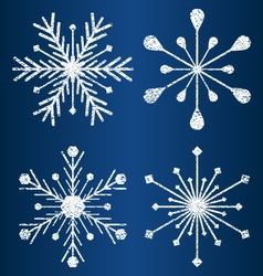 Textured snowflakes vector