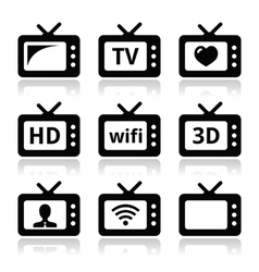 Tv set 3d hd icons vector