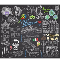 Venice italy sketch elements hand drawn set with vector