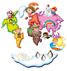 World map with kids and animals vector