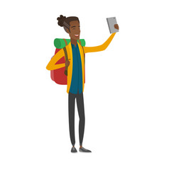 young african traveler with backpack making selfie vector image vector image