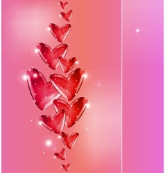 Bubbles of red hearts vector