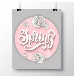 poster with a handwritten phrase-hello spring 4 vector image