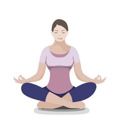 silhouette of yoga woman padmasana - lotus pose vector image