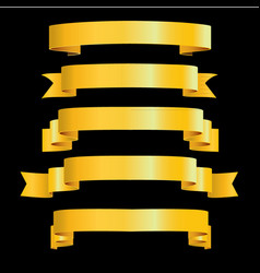 Gold ribbons on black background vector