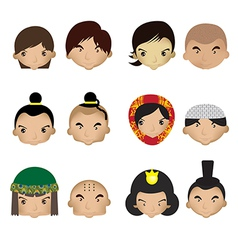 a kids faces on a white background vector image
