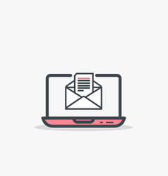 Opened e mail and laptop vector