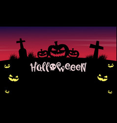 Halloween night background with grave vector