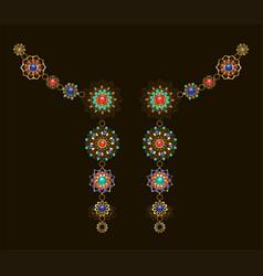 Symmetrical ethnic decoration with lapis lazuli vector