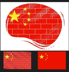 Scratched flag of china vector
