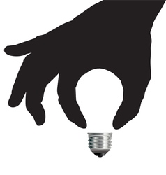 Light bulb idea concept with hand vector