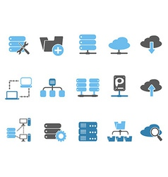 Web host icons set blue series vector