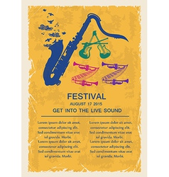Retro jazz invitation with musical instruments vector image
