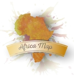 Africa map element abstract hand drawn watercolor vector