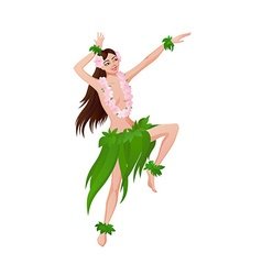 Ethnic dance of hawaiian girl vector