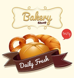 Bakery logo with text and bread vector