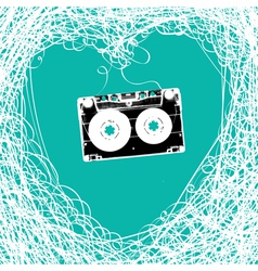 cassette heart tangled vector image