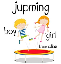 Boy and girl jumping on trampoline vector