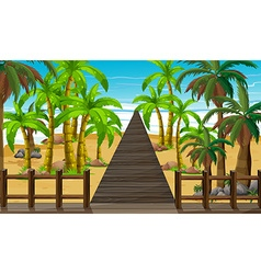 Nature scene with bridge to the ocean vector image