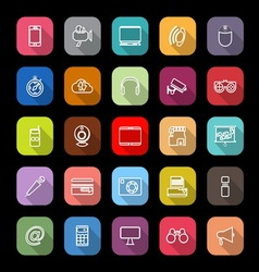 Gadget line icons with long shadow vector