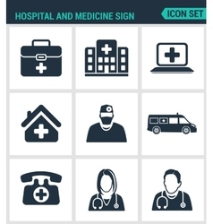 Set of modern icons hospital rescue vector