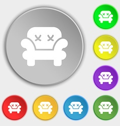 Armchair icon sign Symbol on eight flat buttons vector image vector image