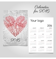 Calendar with stylized red coral heart vector image vector image