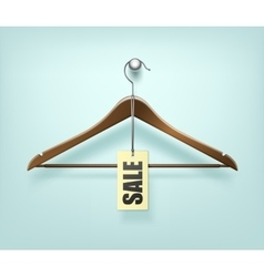 Clothes coat wooden hanger with sale tag label vector