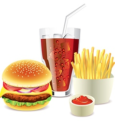 cola hamburger fri vector image